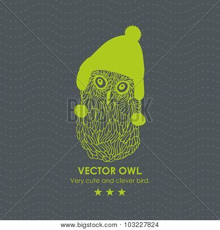 Print with cute and clever owl in scandinavian hat.