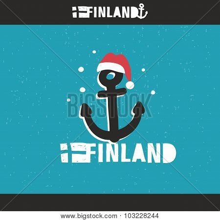 Emblem of Finland with hand drawn image in vintage style.