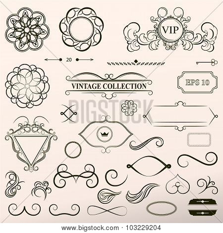 Vintage set decor elements. Elegance old hand drawing set. Outli