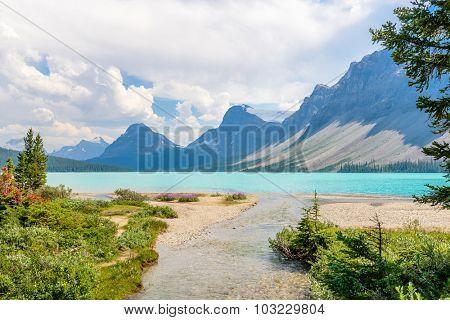 Majestic mountain lake in Canada. Bow Lake, Banff, Alberta.