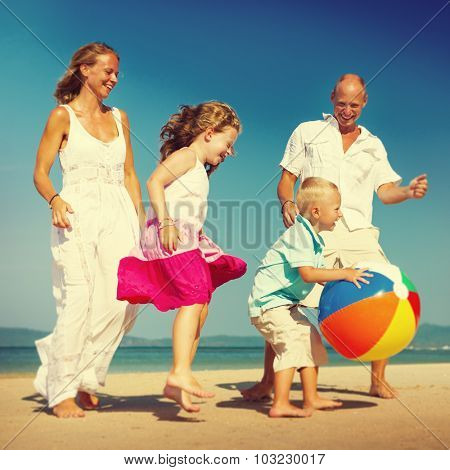Family Beach Ball Holiday Vacation Togetherness Concept