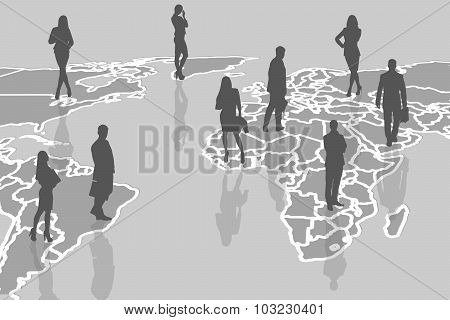 Silhouettes of people on the gray cartography.
