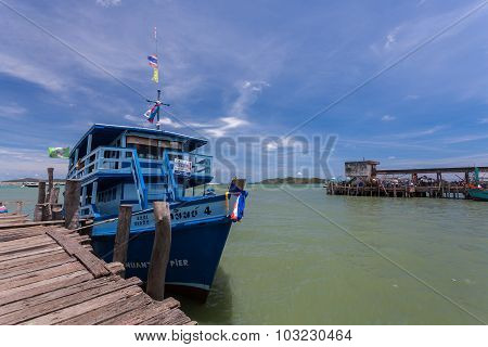 Pier And Boat Shuttle At Samed Rayong, Thailand.