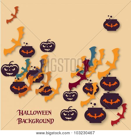 Halloween Background. Vector Illustration. Flat Halloween Icons With Shadow On A Light  Backdrop. Ha