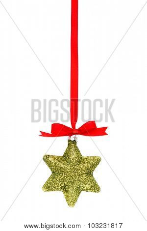 Beautiful christmas decorations  with Shiny red ribbon on white background