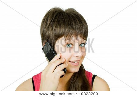 Smiling Beautiful Girl With A Phone