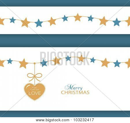 Set of two borders which can be combined and will tile seamlessly. Stars hanging on a string with a heart with ribbon saying The Gift of Love.