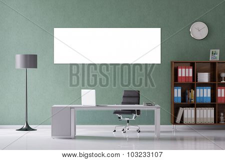 White panorama canvas on wall in office over the desk (3D Rendering)