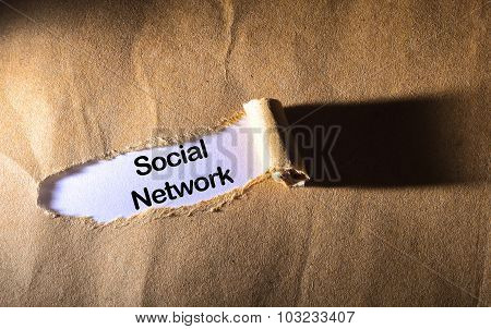 Torn Paper With Word Social Network