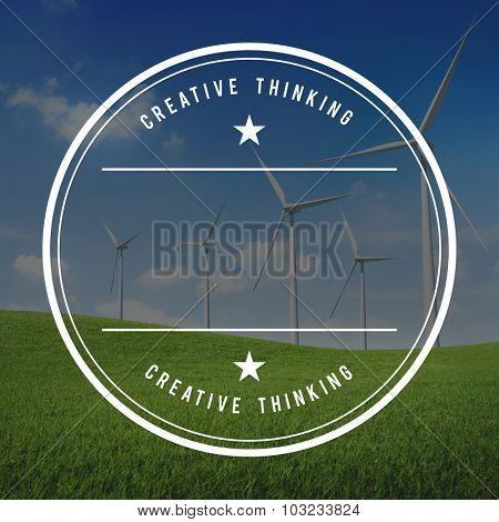 Wind turbine on a green field.