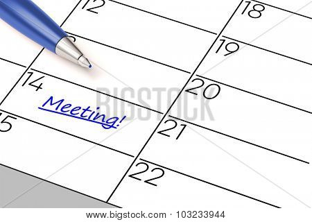 Business meeting marked as event with a blue pen in a calender (3D Rendering)