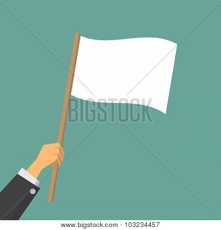 Give Up, Hand Worker Waving A White Flag