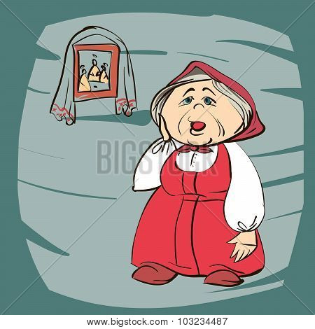 Stock Vector cartoon illustration of a grandmother