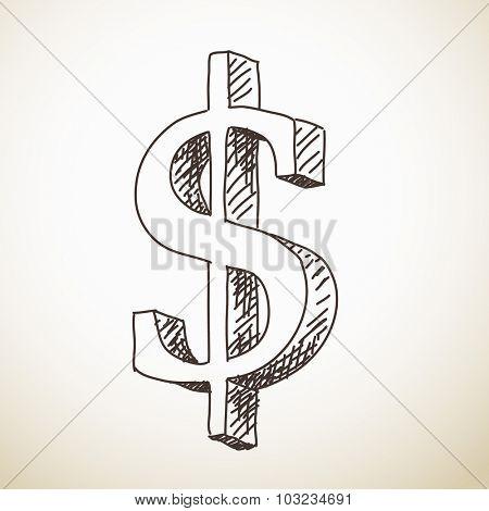 Sketch of 3D dollar sign, Hand drawn vector illustration