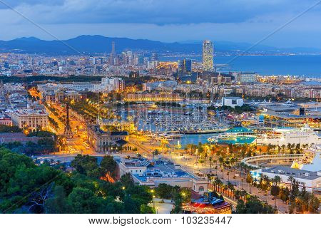 Aerial view Barcelona at night, Catalonia, Spain