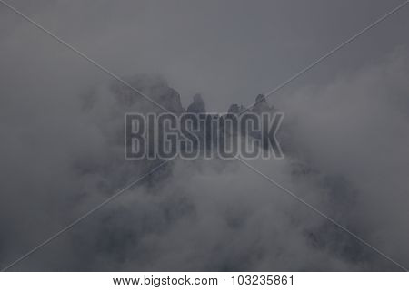 Mountain in the clouds.