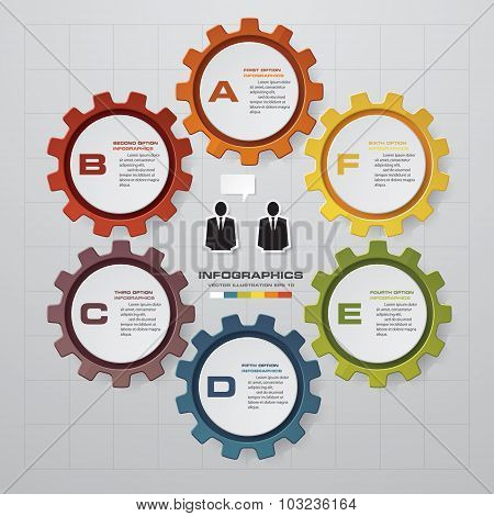 6 steps of info graphic gears shape on global map background.