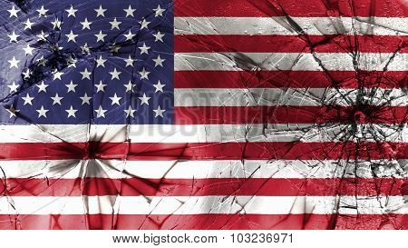 Flag of the United States of America, USA flag painted on broken glass