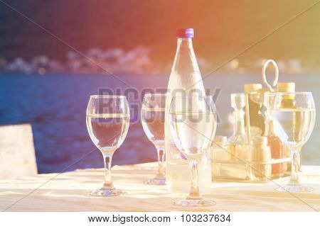 Glassware served in outdoor restaurant on resort