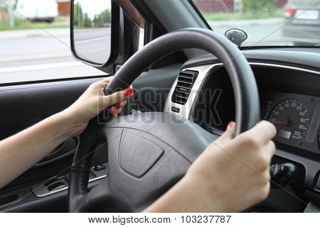 Female Hands On A Car Wheel
