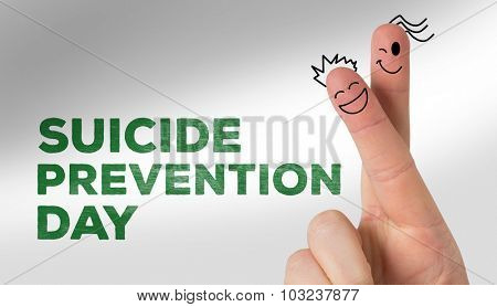 Fingers smiling against suicide prevention day