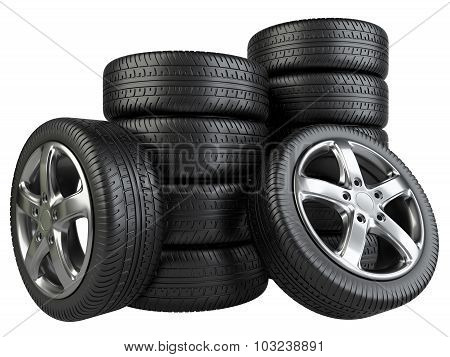 Stack Of Car Wheels