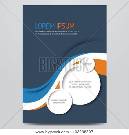 Flyer, brochure, annual report, magazine vector template. Modern blue and orange corporate design.