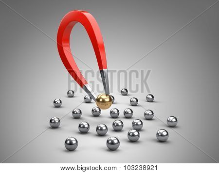 Magnet Attracting Gold Bearing Ball.
