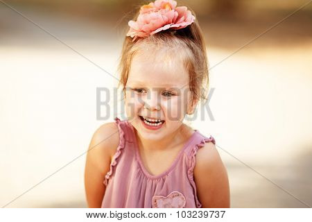 Close-up Portrait Of A Laughing Girl Fun