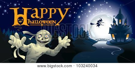 Halloween greeting card with mummy in night landscape