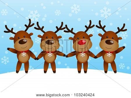 Funny deers on winter background