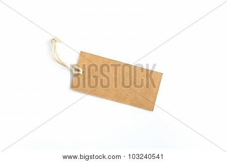 Blank Brown Tag Tied With String Isolated On White