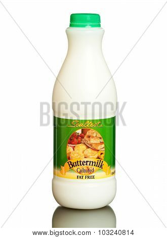 MIAMI, USA - March 30, 2015: Bottle of Sealtest cultured buttermilk, fat free.