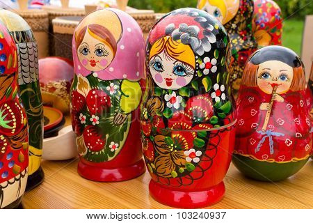 Bright Russian Matrushka Puzzle Dolls