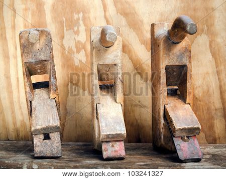 Old Wood Planers Tools On Wood Background