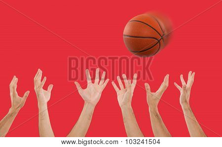 Hands catching a basketball