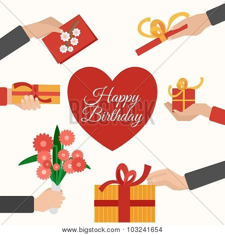 Presents holding hands flat pictograms composition