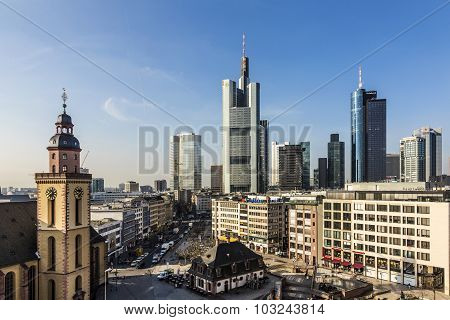 Aerial view of Frankfurt with Hauptwache