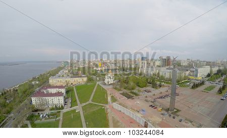 SAMARA - MAY 05, 2015: Cityscape Glory Monument on Glory Square and Cathedral of St. George at spring cloudy day. Aerial view video frame
