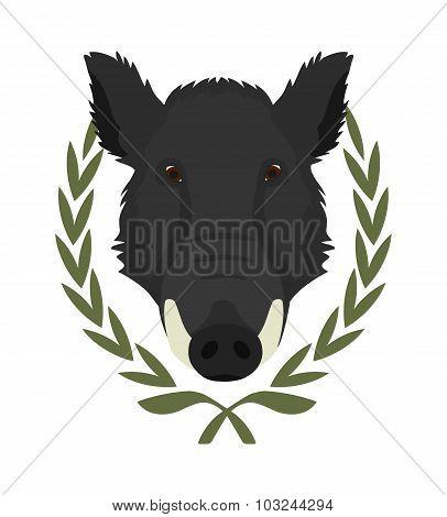 Boar head in laurel wreath. Color