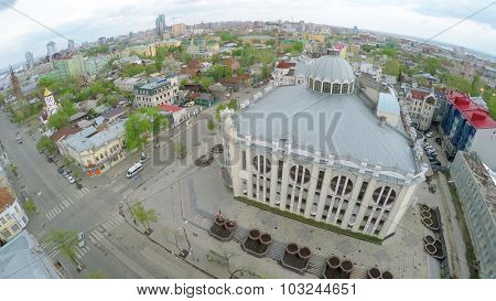 SAMARA - MAY 10, 2015: Cityscape with edifice of State Philharmonic of Samara at spring day. Aerial view video frame. State Philharmonic of Samara was opened in 1988.