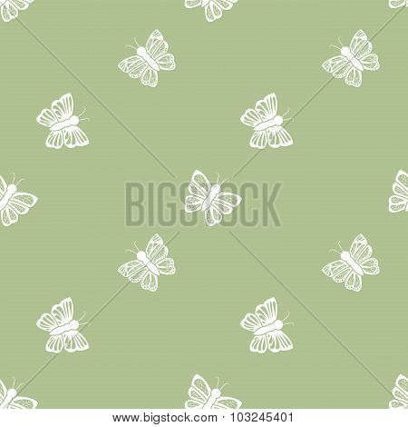 Flying Butterfly Seamless Pattern In Retro Style