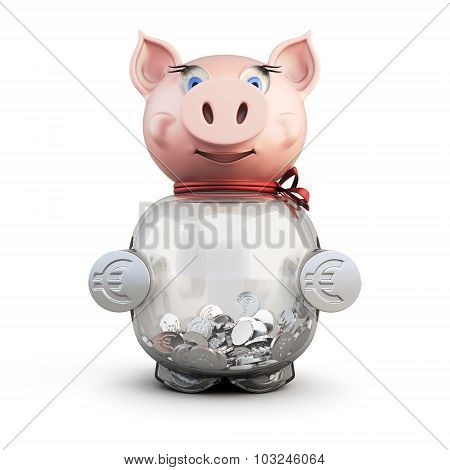 Piggy Bank Isolated On A White