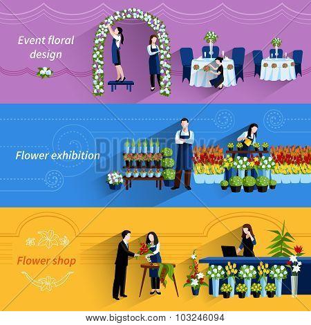 Florist shop service flat banners set