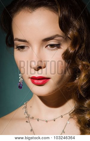 Fashionable Women With Vintage Style Make Up