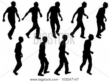 Dancers younge men on a white background
