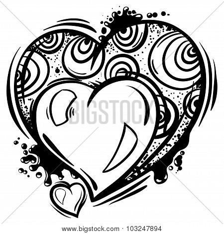 Template with Valentine hearts in line art style