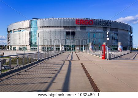 GDANSK, POLAND - SEPTEMBER 26, 2015: Ergo Arena building on the boundary of two cities - Gdansk and Sopot in Poland. Ergo Arena has a capacity up to 15,000 people for sports events and concerts.