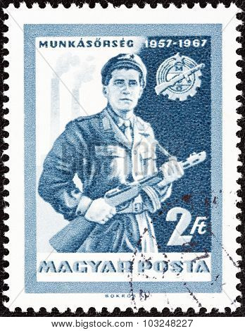 HUNGARY - CIRCA 1967: A stamp printed in Hungary shows Militiaman