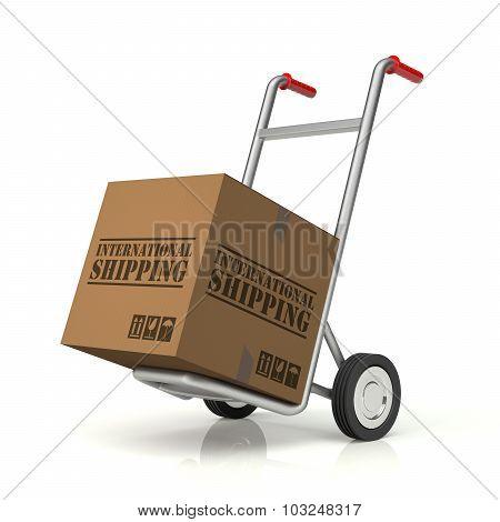 Hand Truck And International Shipping Cardboard Box
